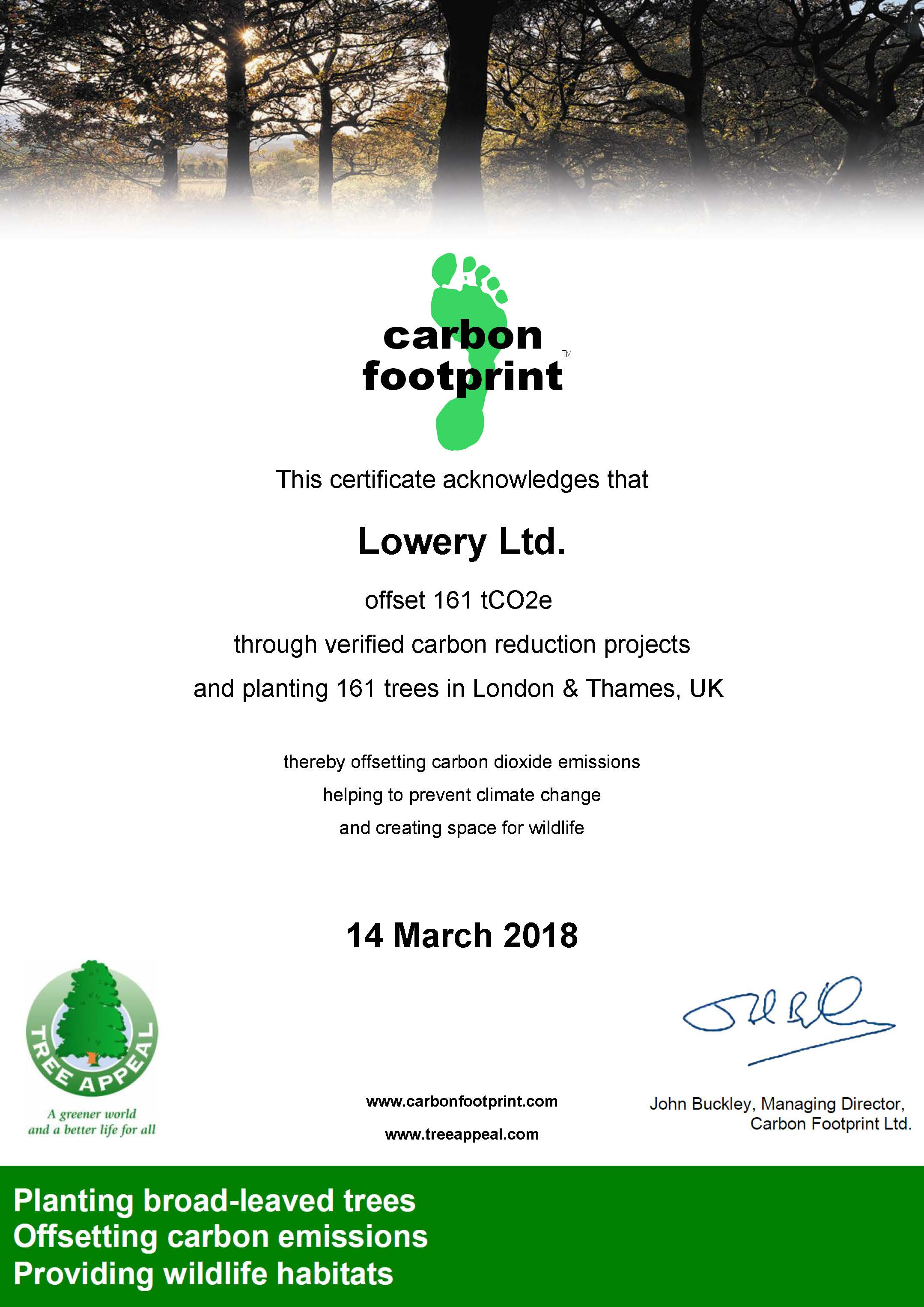 Carbon Footprint offset through Tree Planting in London / Thames Valley